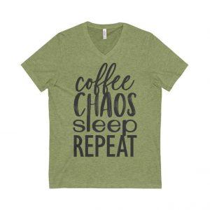 coffee chaos sleep repeat unisex bella tee from the faithful merchant mom gift
